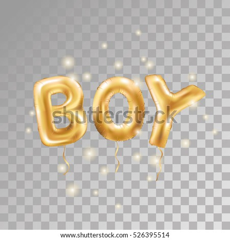 Gold Letter Boy Balloons Transparent Background Birthday Characters On Black For Celebration
