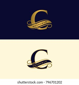 Gold letter C. Calligraphic beautiful logo with tape for labels. Graceful style. Vintage drawn emblem for book design, brand name, business card, Restaurant, Boutique, Hotel. Vector illustration