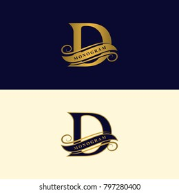 Gold letter D. Calligraphic beautiful logo with tape for labels. Graceful style. Vintage drawn emblem for book design, brand name, business card, Restaurant, Boutique, Hotel. Vector illustration