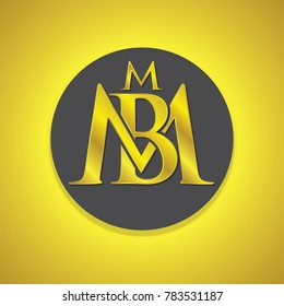 gold letter design logo, luxury m and b
