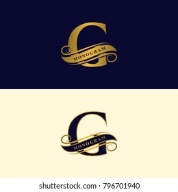Gold letter G. Calligraphic beautiful logo with tape for labels. Graceful style. Vintage drawn emblem for book design, brand name, business card, Restaurant, Boutique, Hotel. Vector illustration