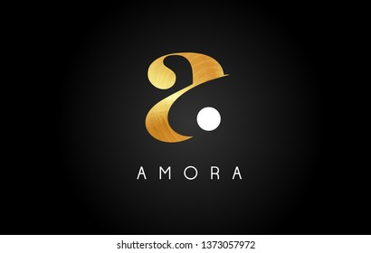 Gold Letter A Logo. A Letter Design Vector with Golden Colors and Bubbles.