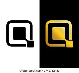 Gold letter Q logo design. Beautiful Cosmetic business industry and fashion logo. Modern Elegant Gold Geometric Letter Q Logo