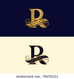 Gold letter R. Calligraphic beautiful logo with tape for labels. Graceful style. Vintage drawn emblem for book design, brand name, business card, Restaurant, Boutique, Hotel. Vector illustration