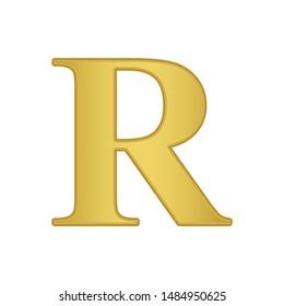 Gold letter R. Golden alphabet.  Beautiful capital letters.
