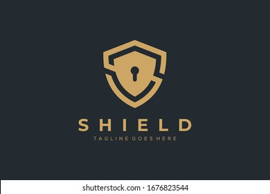 Gold Letter S Shield with Keyhole inside. Security Logo Protection Symbol Vector Logo Design