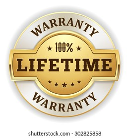 Gold lifetime warranty  badge on white background