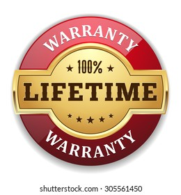 Gold lifetime warranty badge with red border on white background