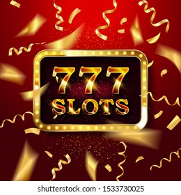 Gold light 777 Slots retro signboard and golden foil confetti on red background. Vector illustration. 777 Slots light bulb frame signboard. 777 Slots logo.