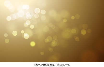 Gold light blur effect vector premium background. Luxury sparkles and defocused golden glitter with sparkling golden glowing texture and bokeh glow
