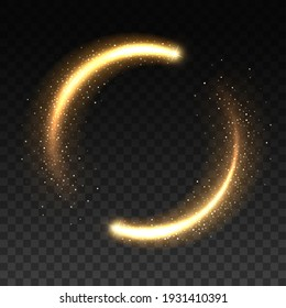 Gold light circle with sparkles, vector magic glow 3d effect. Realistic golden shiny ring or swirl, round frame of flare trail with glitter dust, golden fairy dust isolated on transparent background