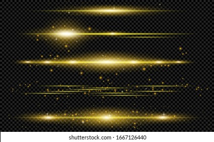 Gold light flares. Glowing light explodes on a transparent background. Laser beam, horizontal light rays. Horizontal lens flares pack.