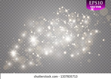 Gold light glow effect stars bursts with sparkles isolated on transparent background