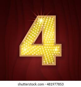 Gold light lamp bulb font number 4 Four. Sparkling glitter design in style of vegas casino, burlesque cabaret and broadway show decoration. Shining numbers symbols of alphabet set for light board