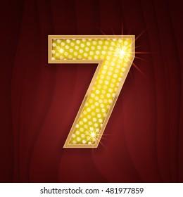 Gold light lamp bulb font number 7 Seven. Sparkling glitter design in style of vegas casino, burlesque cabaret and broadway show decoration. Shining numbers symbols of alphabet set for light board