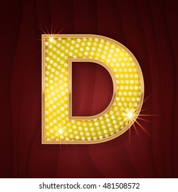 Gold light lamp bulb letter B. Sparkling lightning glitter shine alphabet for light board.