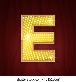 Gold light lamp bulb letter E. Sparkling lightning glitter shine alphabet for light board. Fashion show, nightclub stylish glowing shining golden alphabet letter E