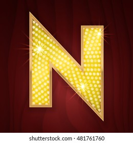 Gold light lamp bulb letter N. Casino concept design of letter from sparkling glittering alphabet set