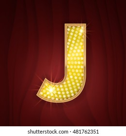 Gold light lamp bulb letter J. Letter in style of cabaret and musical show. Sparkling glitter shine alphabet for light board