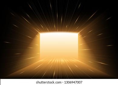 Gold light lines corridor