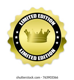 Gold Limited edition badge with crown on white background,vector illustration