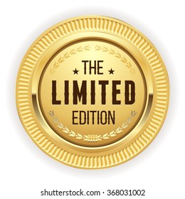 Gold limited edition badge on white background