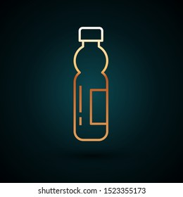 Gold line Bottle of water icon isolated on dark blue background. Soda aqua drink sign.  Vector Illustration