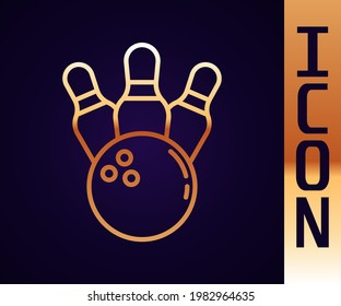 Gold line Bowling pin and ball icon isolated on black background. Sport equipment.  Vector