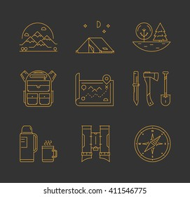 Gold line icons set of hiking, camping and tourism. Vector line mountain, tent, tree, backpack, map, knife, axe, shovel, thermos, cup, compass and binoculars.