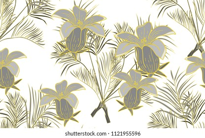 Gold line kentia. Palm leaves and exotic flowers composition. Vector illustration. Botanical seamless background. Digital nature art.