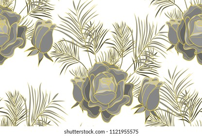 Gold line kentia and roses. Palm leaves and exotic flowers composition. Vector illustration. Botanical seamless background. Digital nature art.