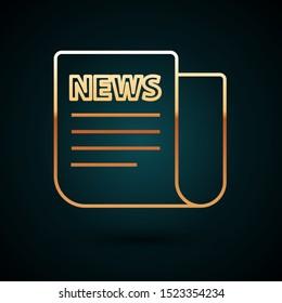 Gold line News icon isolated on dark blue background. Newspaper sign. Mass media symbol.  Vector Illustration