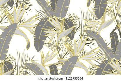 Gold line palm, kentia and paradise bird flower. Leaves and exotic flowers composition. Vector illustration. Botanical seamless background. Digital nature art.