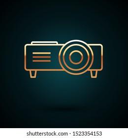 Gold line Presentation, movie, film, media projector icon isolated on dark blue background.  Vector Illustration