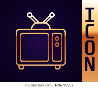 Gold line Retro tv icon isolated on black background. Television sign.  Vector Illustration