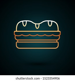 Gold line Sandwich icon isolated on dark blue background. Hamburger icon. Burger food symbol. Cheeseburger sign. Street fast food menu.  Vector Illustration