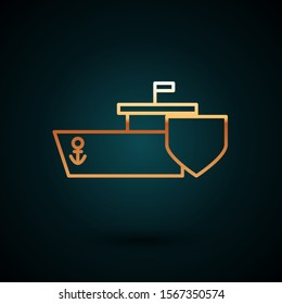 Gold line Ship with shield icon isolated on dark blue background. Insurance concept. Security, safety, protection, protect concept.  Vector Illustration
