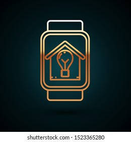 Gold line Smart watch with smart house and light bulb icon isolated on dark blue background.  Vector Illustration