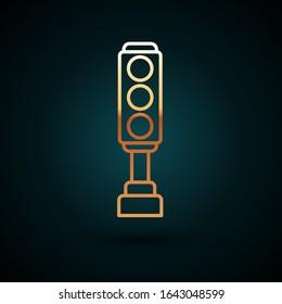 Gold line Traffic light icon isolated on dark blue background.  Vector Illustration