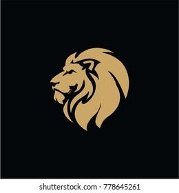 Gold Lion Head Black Background Flat Design Vector Illustration