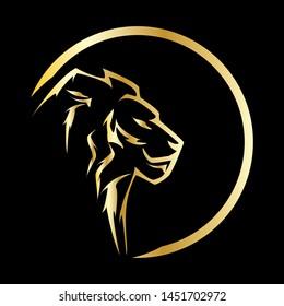 Gold Lion Head Vector Logo Template