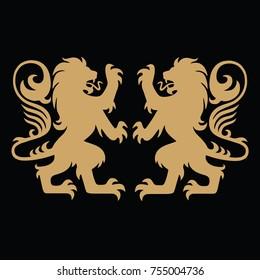 Gold Lion Heraldic Logo Template Vector