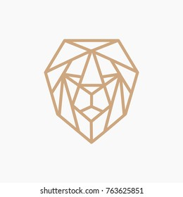 GOLD LION LOGO - ABSTRACT GEOMETRIC LINE ART/MONOLINE - VECTOR  -ILLUSTRATION TEMPLATE