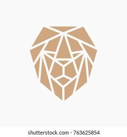 GOLD LION LOGO - ABSTRACT GEOMETRIC LINE ART/MONOLINE - VECTOR  -ILLUSTRATION TEMPLATE
