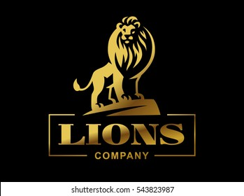 Gold lion logo - vector illustration, emblem design on black background