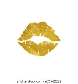 gold lips vector illustration