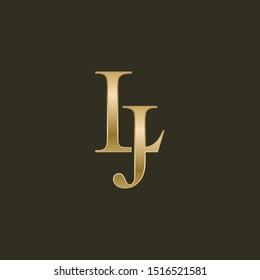 Gold LJ letters logo. Vector