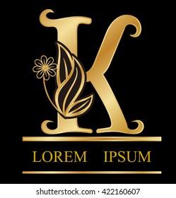 Gold logo font k type Design leaves with flowers in letter s logo.