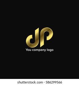 Gold Logo. Letter D and P. Vector Illustration