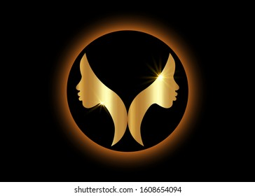 gold logo round design African american woman face profile. Golden Women profile silhouette on the black background. Vector illustration isolated